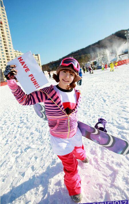 滑雪服也要潮 看韩MM漂亮滑雪装扮